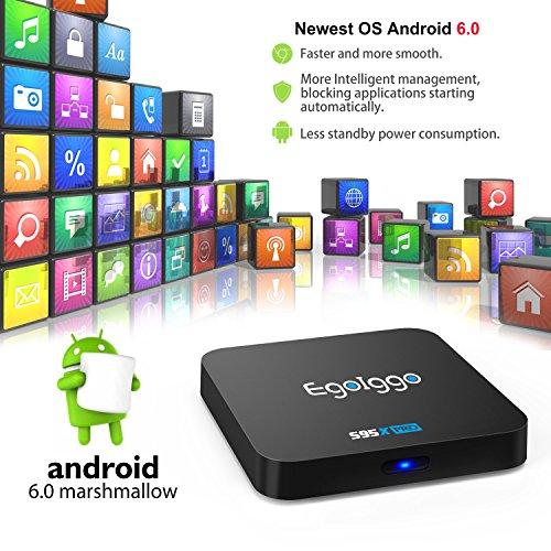 EgoIggo S95X Pro Android 6.0 TV Box Smart TV Box mit 2GB Ram+16GB eMMC / Amlogic S905X Quad-Core Prozessor / 2.4GHz WiFi / 100M LAN / HDMI / SPDIF unterstützt 4K HD - 2